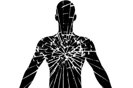 Silhouette of man broken crystal Stock Photo