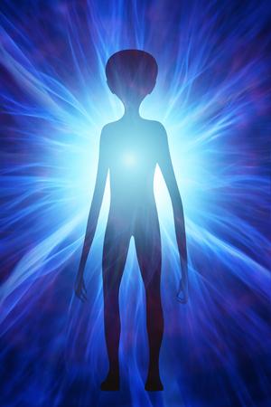Mit Extraterrestrial Silhouette der kosmischen Strahlung