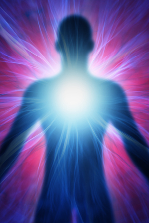 being: illustration of human body with energy beams