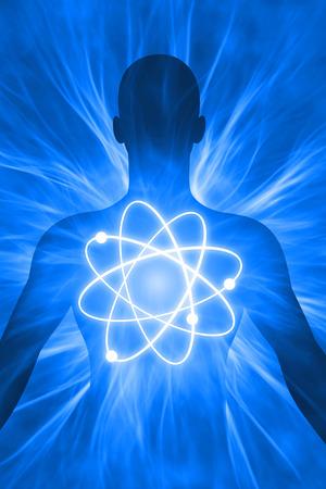 illustratie menselijk lichaam met energetische straling