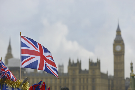 England flag in front of Big Ben Banco de Imagens