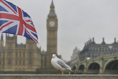 England flag in front of Big Ben Stock Photo