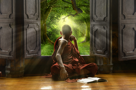 Buddhist novice looking out the window Banco de Imagens