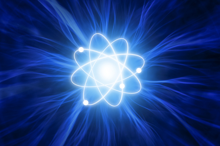 Illustration atom with energy rays Stock Photo