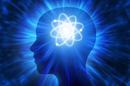 Menschlicher Kopf mit Energiestrahlen Standard-Bild