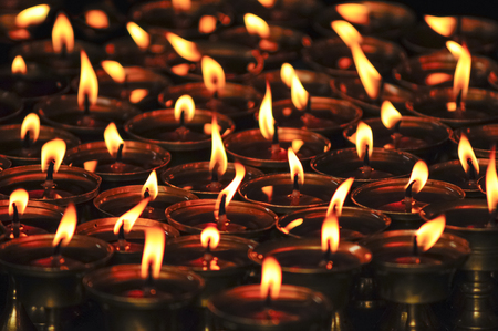 Candles in the buddhist temple