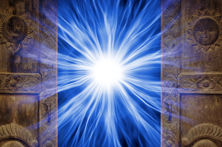 Open doors with energy and rays inside