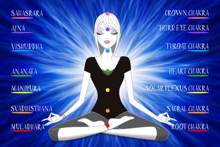 Illustration of girl doing meditation