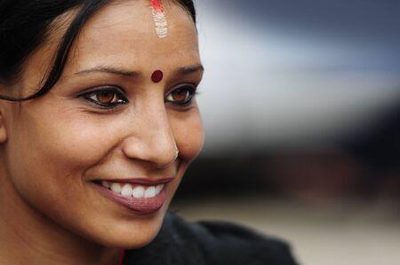 Patan, Nepal. August, 22, 2010. Nepalese girl posing in Patan