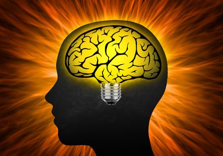Head with bulb as brain