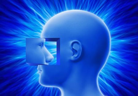 Head looking inward