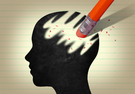 Head with eraser pencil Banque d'images