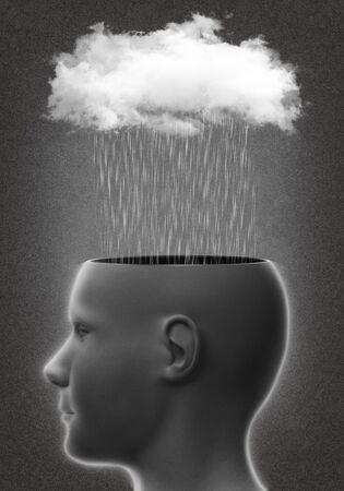 Head with rain