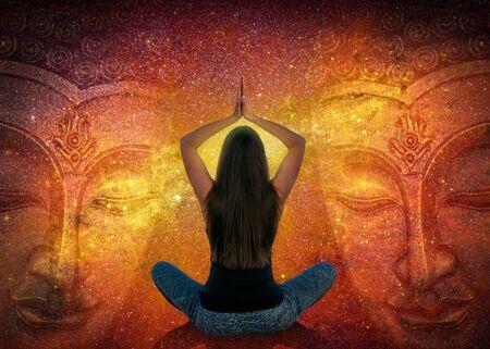 Woman doing yoga and meditation