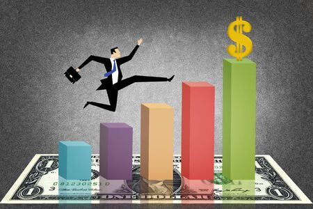 Infographics of economic data with man Stock Photo