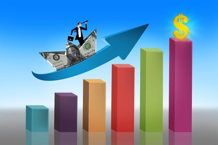 Infographics of economic data with man inside boat