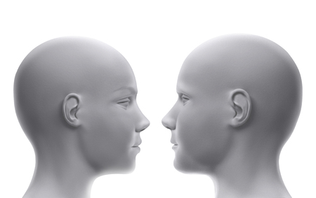 Heads of man and woman Stock Photo