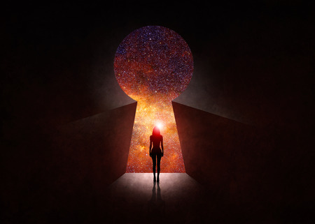 Woman in front of open door with universe behind