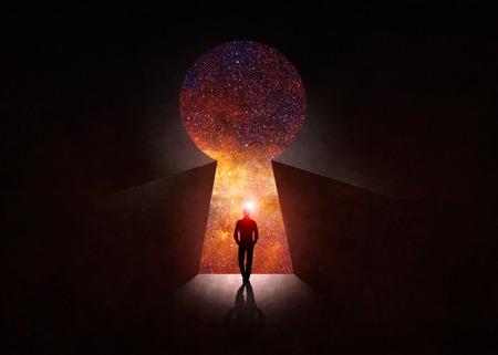 Man in front of open door with universe behind Stock Photo