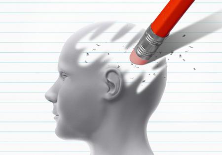 Head erased by pencil eraser