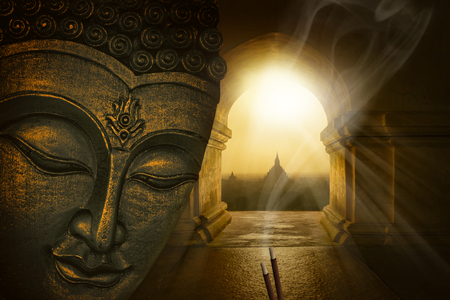 Buddha face in the temple of Bagan