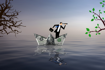 Man inside a boat made with a dollar