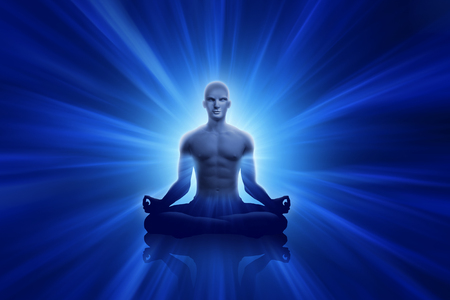 Yoga men with blue ray