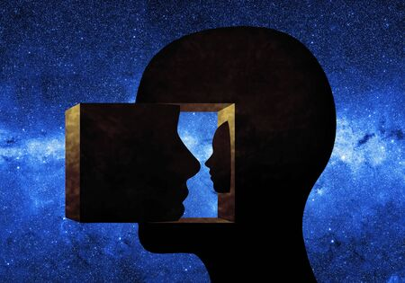 Menselijk hoofd naar binnen gericht