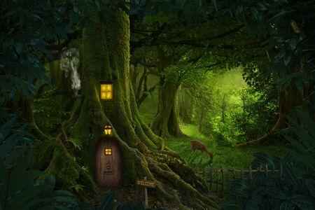 Gigantischer Baum mit Haus im Inneren