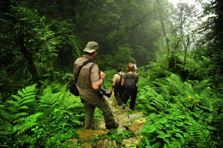 Trekking through jungle trail in Nepal