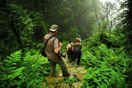 Trekking through jungle trail in Nepal