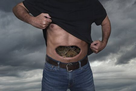 Man with gears inside his stomach
