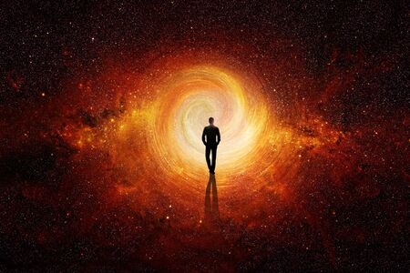 Man walking through the universe