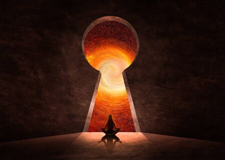 Woman in front of key hole with universe behind Stockfoto
