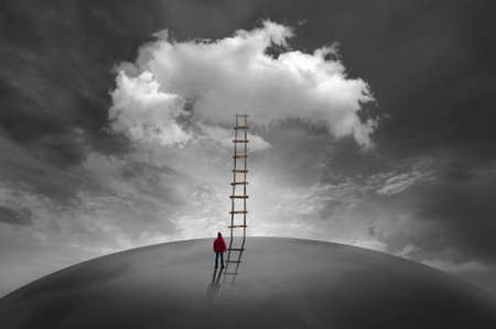 Man in front of a cloud with a wooden ladder