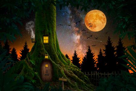 Gigantic tree with house inside 版權商用圖片