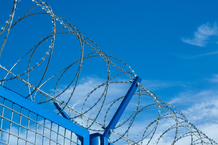 Barbed wires on clear sunny day, security concept