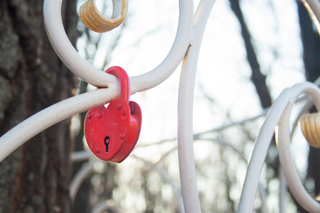 The lock in the shape of a heart. The concept of love and marriage. Romance. Valentines Day