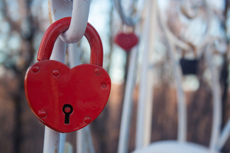 The lock in the shape of a heart. The concept of love and marriage. Romance. Valentine's Day