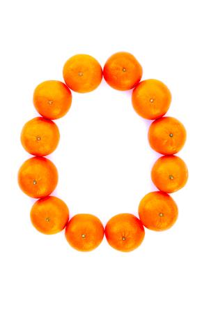 Letter solved with tangerines isolated on white background. Mandarine «O» letter Stock Photo