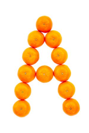 Letter solved with tangerines isolated on white background. Mandarine «A» letter Banco de Imagens - 121322137