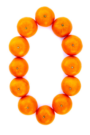 Number solved with tangerines isolated on white background. Mandarine number «0»