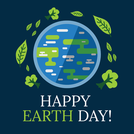 Earth day concept. Earth with leaves and trees around it in flat and hand drawn style. Earth day celebrtaion. April 22.