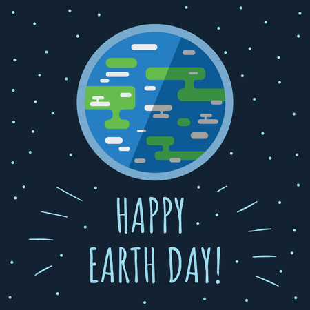World earth day concept. Earth with stars and space around it in flat style. Simple earth map. Earth day celebrtaion. April 22. Vector illustration. Stock Illustratie