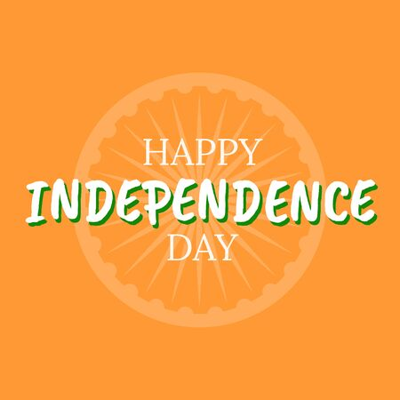 Happy 15th of august independence india day celebration. India independence with wheel ashoka chakra on saffron colored background with color paint steins Ilustrace
