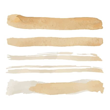 Set of Five gold yellow colored vector paintbrush strokes isolated on white background. Hand paint gold brushes lines isolated 向量圖像