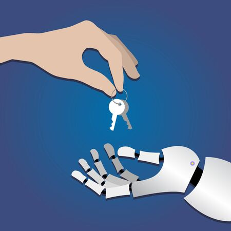 human hand gives the keys to the metallic arm of the robot on a dark blue background. symbol, artificial intelligence concept, transfer of work to machines