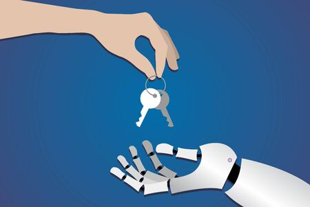 human hand gives the keys to the metallic arm of the robot on a dark blue background. symbol, artificial intelligence concept, transfer of work to machines horizontal
