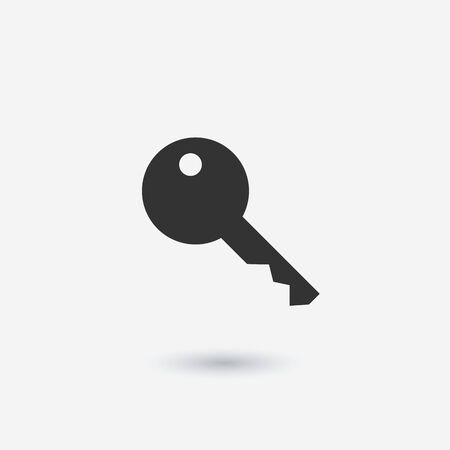 Key icon vector, flat style isolated on white background. Icon of flat key with teeth illustration. Access, security and protection of property, information Ilustracja