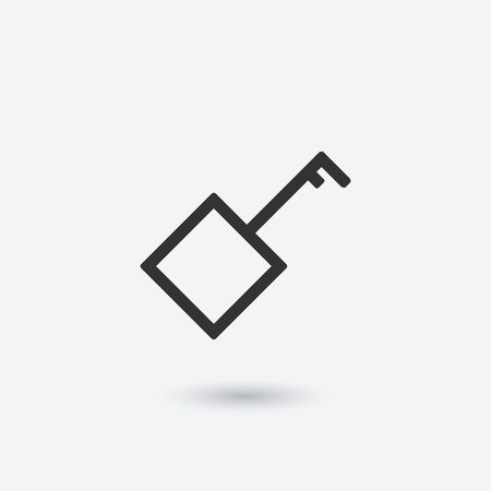 Key icon vector, flat style isolated on white background. Icon of flat square key illustration. Access, security and protection of property, information